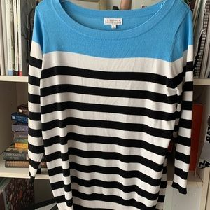 Joseph A 3/4 Sweater Blue White Black Stripe